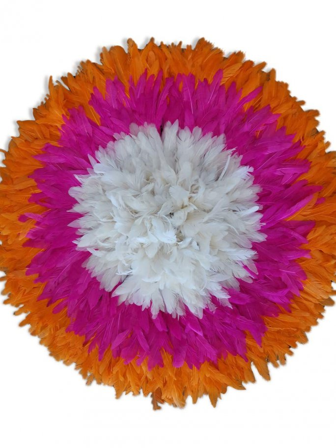 Juju hat en plumes 60 cm orange rose blanc